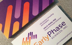 Business card design for EarlyPhase Sciences